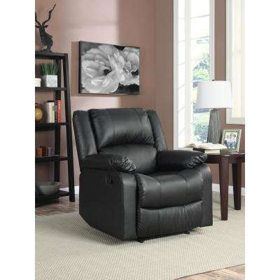 Preston Faux Leather Recliner Chair in Black