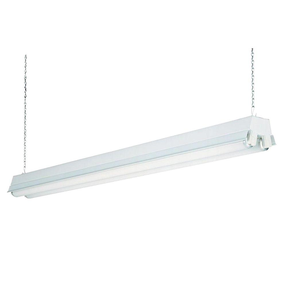 Fluorescent Light Fixtures Home Depot: Lithonia Lighting 2-Light White T12 Fluorescent Shop Light