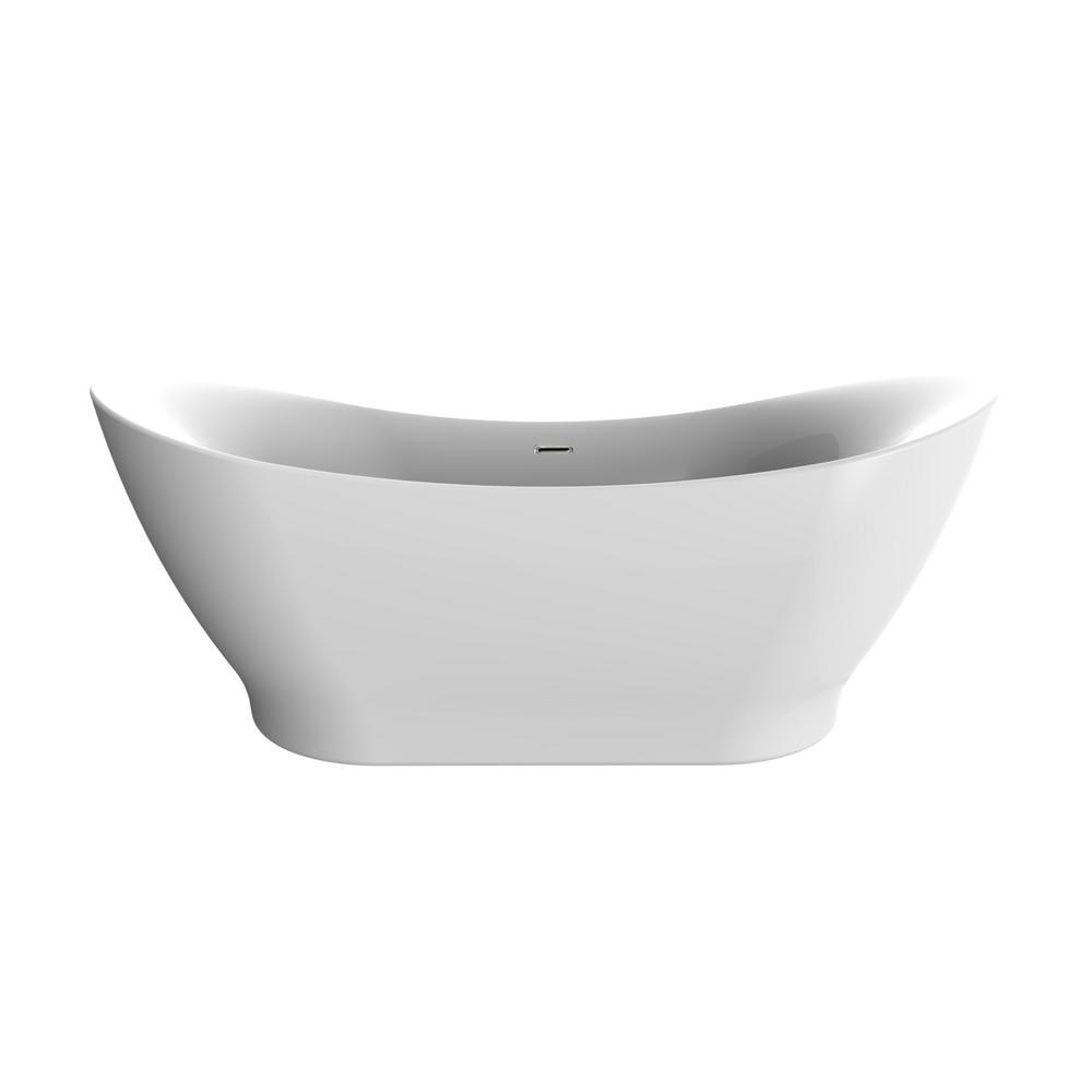 Polar 66 in. Acrylic Freestanding Flatbottom Bathtub in White No faucet