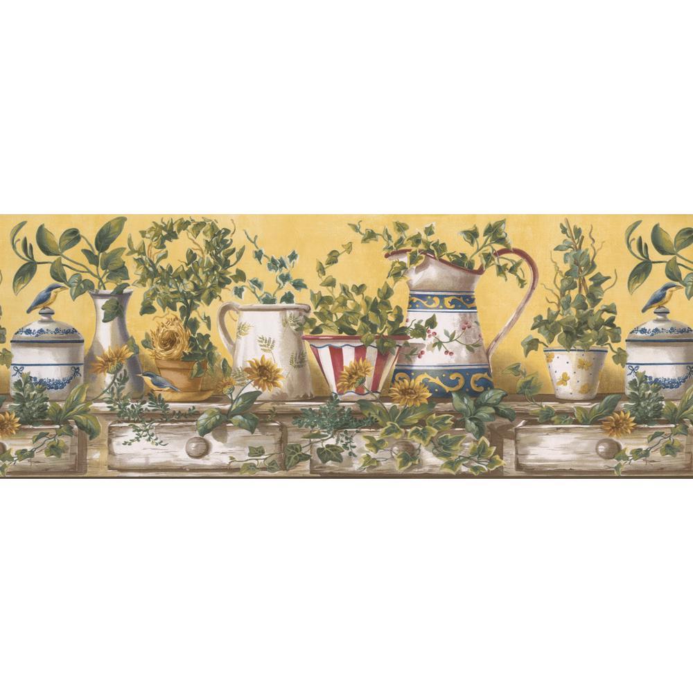 Retro Art Porcelain White Red Blue Kettle Vase On Vintage Kitchen Table Yellow Prepasted Wallpaper Border Ffm10151b The Home Depot