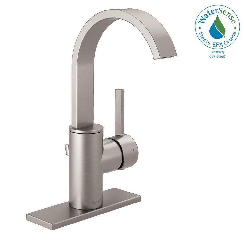 Mandolin 4 in. Centerset Single-Handle Bathroom Faucet in SpotShield Brushed Nickel