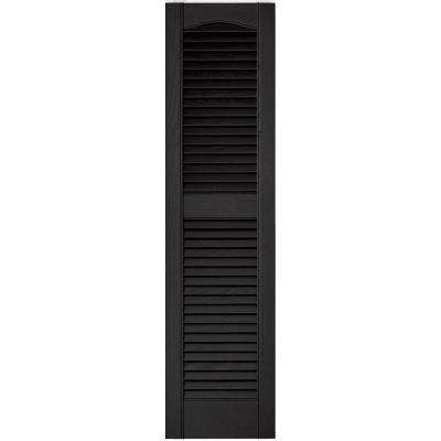 12 in. x 48 in. Louvered Vinyl Exterior Shutters Pair in #002 Black