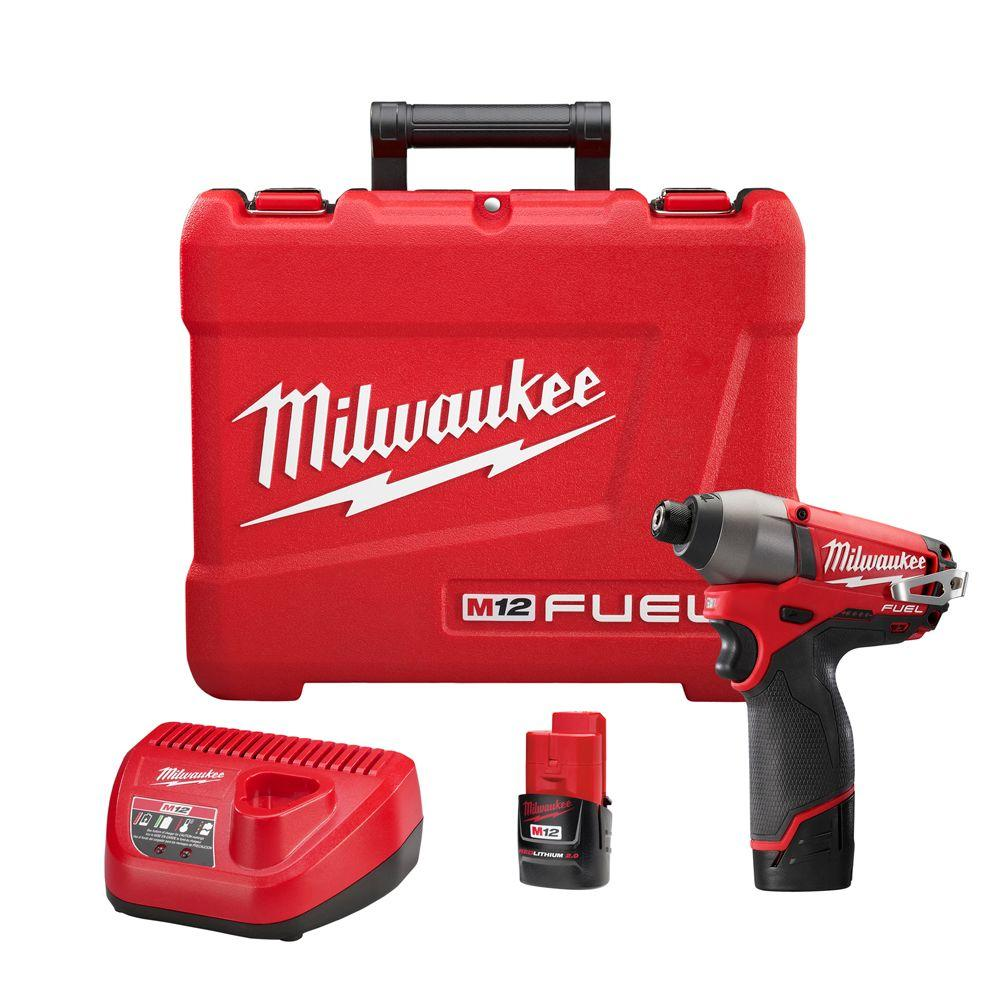 Milwaukee Milwaukee M12 FUEL 12-Volt Lithium-Ion Brushless Cordless 1/4 in. Hex Impact Driver Kit W/(2) 2.0Ah Batteries, Charger & Hard Case