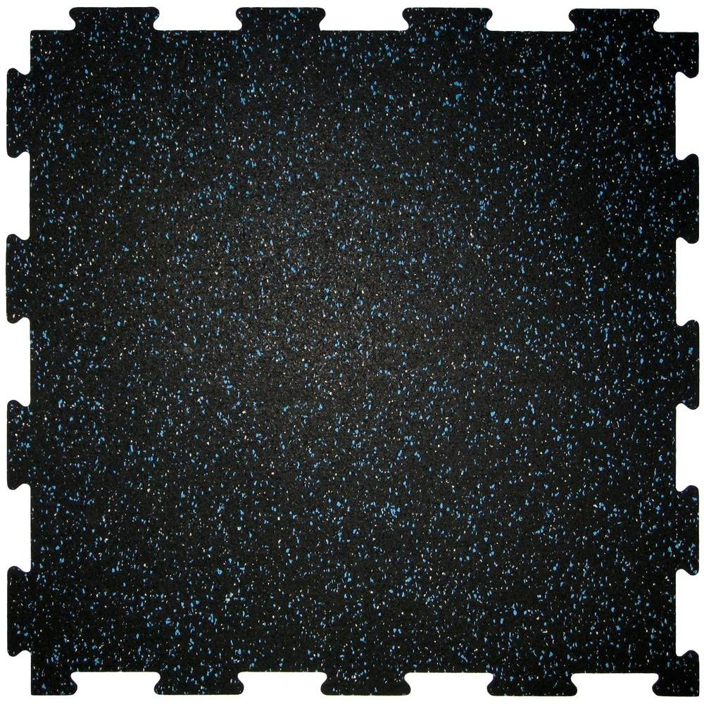 KN Rubber Interlock Black 0.200 in. x 23.75 in. x 23.75 in. with Light Blue & TRU White Fleck Rubber Tile