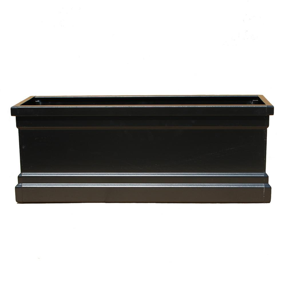 Bloomz Box 8.5 in. x 120 in. Fiberglass Black Planter Box