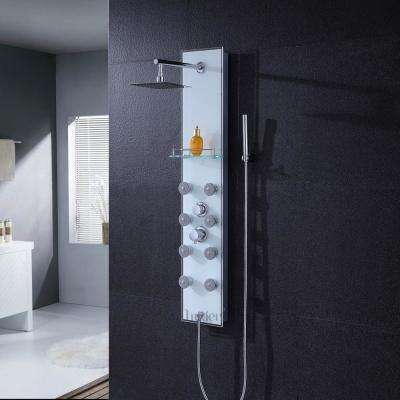 "51"" Aluminum Safety White Tempered Glass Rainfall Shower Panel Tower Rain Massage System Faucet with Jets & Hand Shower"