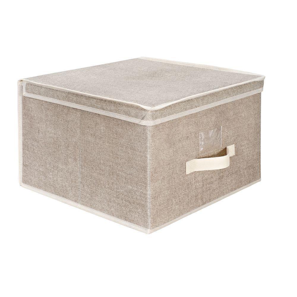 16 in. x 16 in. x 10 in. Jumbo Faux Jute Polypropylene Storage Box