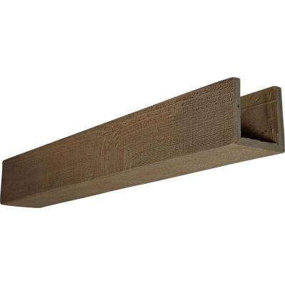 6 in. x 10 in. x 24 ft. 3-Sided (U-Beam) Rough Sawn Honey Dew Faux Wood Beam