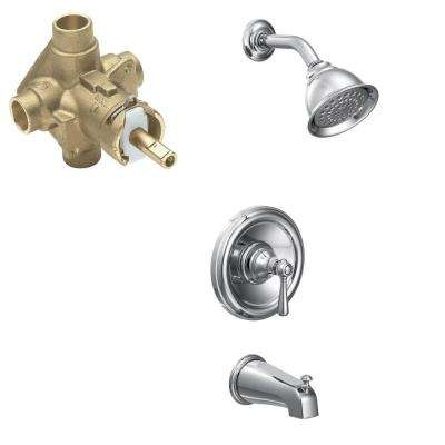 Kingsley Single-Handle 1-Spray Tub and Shower Faucet Trim Kit with Valve in Chrome (Valve Included)
