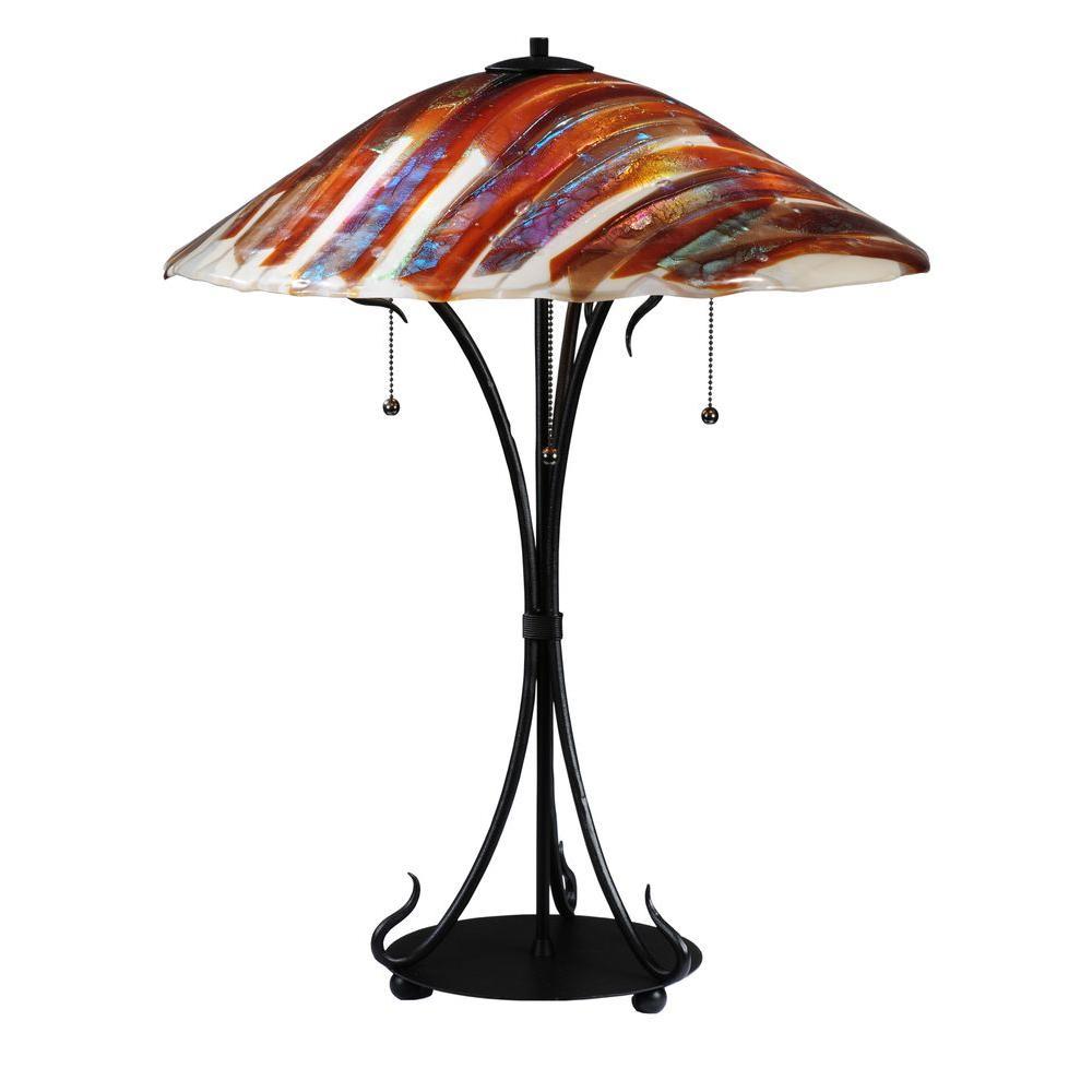 Illumine 3-Light Table Lamp Fused Glass Smoke Finish