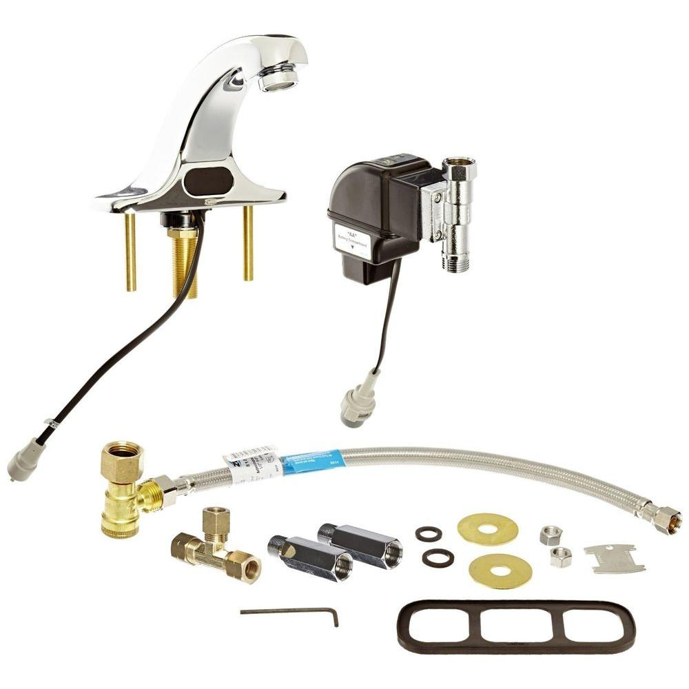 Battery-Powered Single Hole Touchless Bathroom Faucet with Hydro Generator and Mixing Valve in Polished Chrome