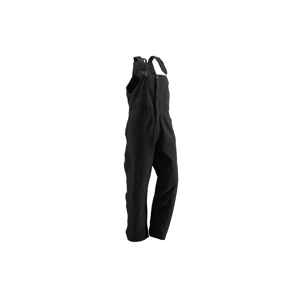 Women's Extra Large Short Black Cotton Washed Insulated Bib Overall