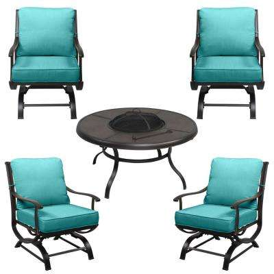 Redwood Valley Black 5-Piece Steel Outdoor Patio Fire Pit Seating Set with CushionGuard Seaglass Turquoise Cushions