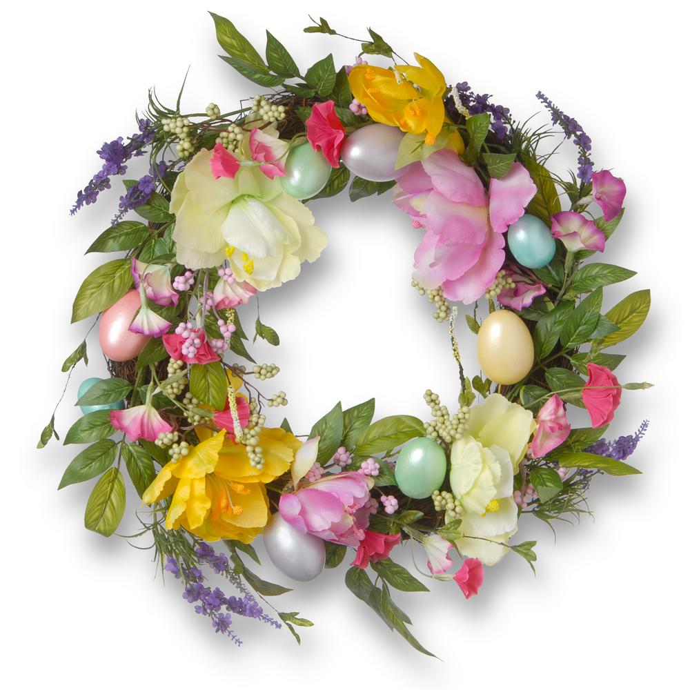 20 in. Tulip and Easter Egg Decorated Wreath