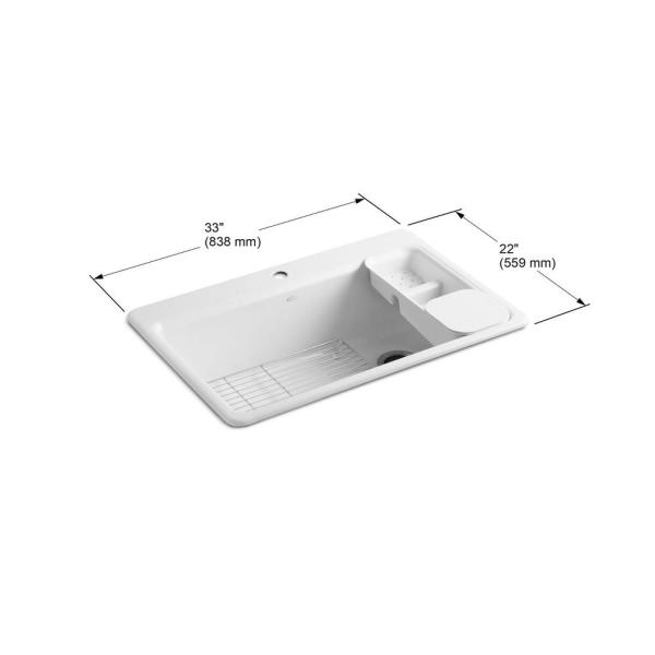 Kohler Riverby Workstation Drop In Cast Iron 33 In 1 Hole Single Basin Kitchen Sink Kit With Accessories In White K 5871 1a2 0 The Home Depot