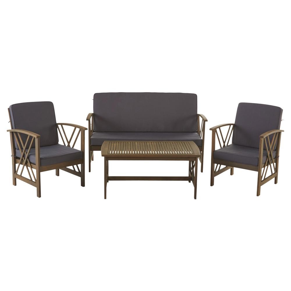 Noble House Caroline Grey 4-Piece Wood Patio Conversation Set with Dark Gray Cushions