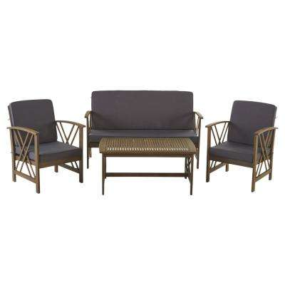 Caroline Grey 4-Piece Wood Patio Conversation Set with Dark Gray Cushions