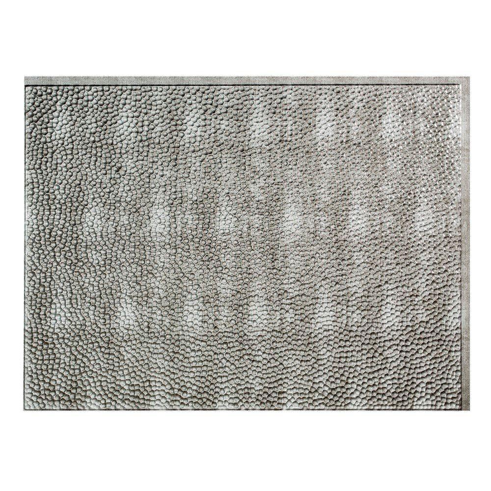 Hammered 18 in. x 24 in. Crosshatch Silver Vinyl Decorative Wall Tile Backsplash 18 sq. ft. Kit