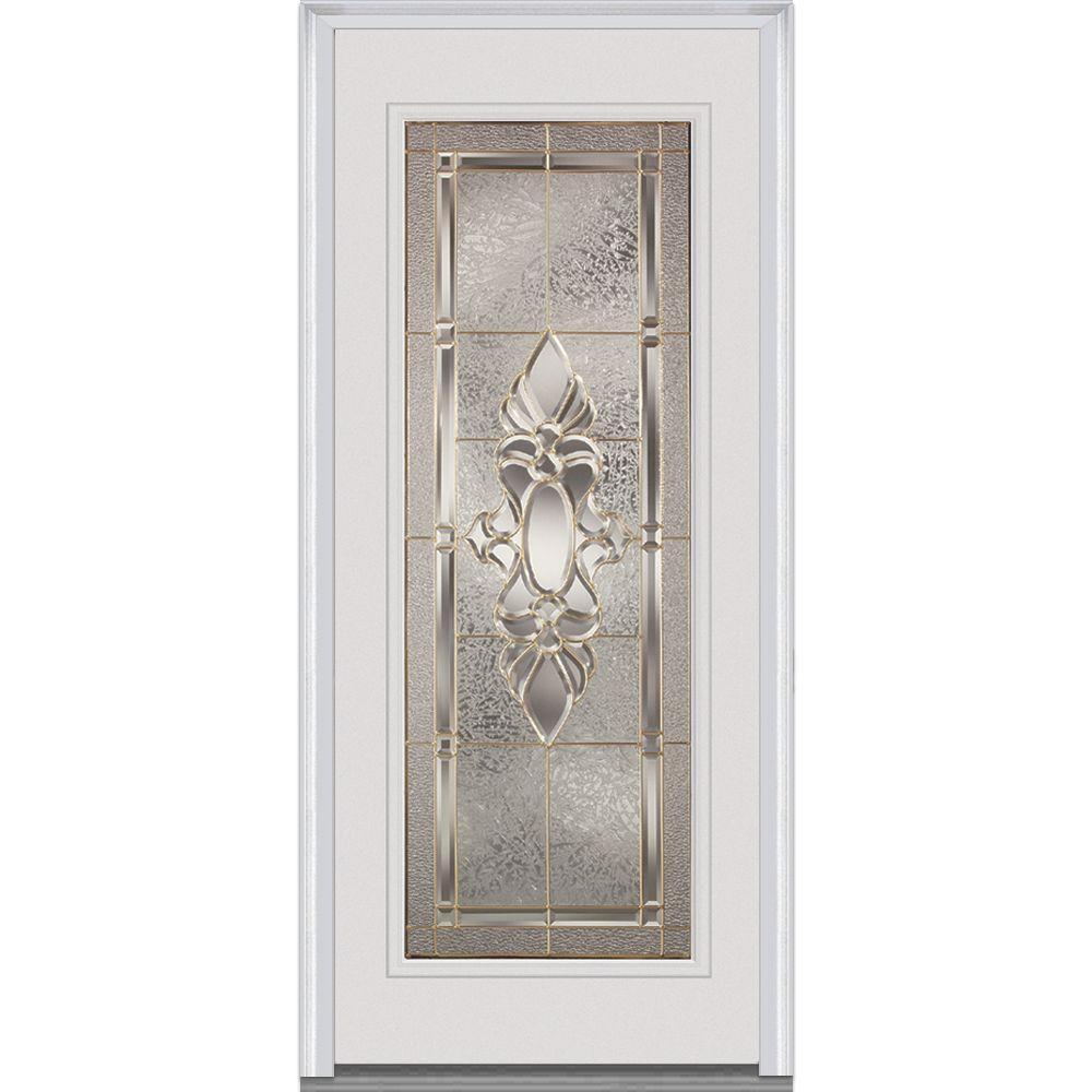 Milliken Millwork 36 in. x 80 in. Heirloom Master Right Hand Full Lite Decorative Classic Primed Fiberglass Smooth Prehung Front Door