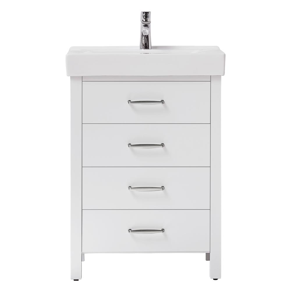 Home Decorators Collection Cedarton 24 in. W x 18 in. D Vanity in White with Ceramic Vanity Top in White with White Sink