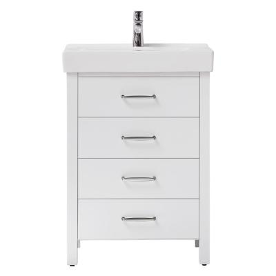 Cedarton 24 in. W x 18 in. D Vanity in White with Ceramic Vanity Top in White with White Sink