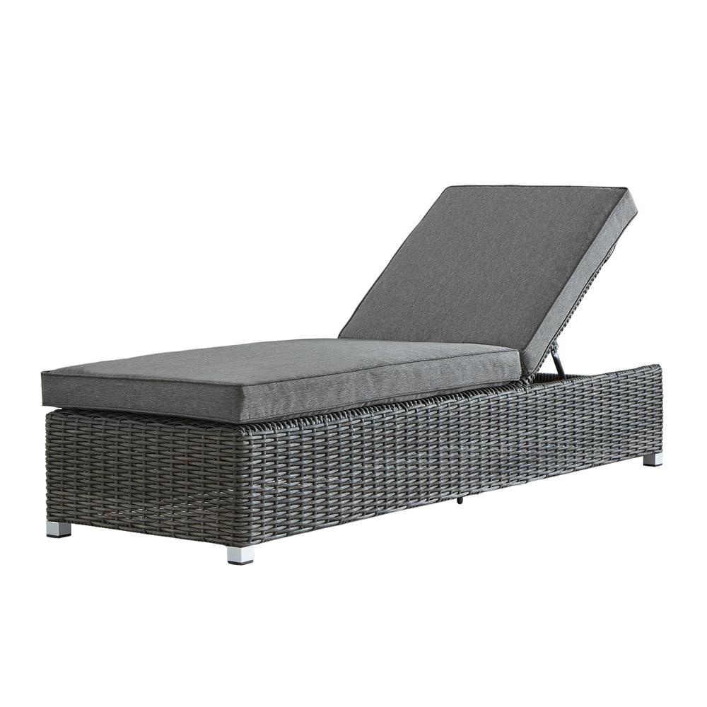 Camari Charcoal Wicker Adjule Outdoor Chaise Lounge Chair With Gray Cushion