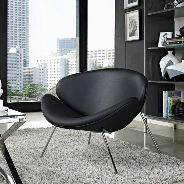 MODWAY Nutshell Upholstered Vinyl Lounge Chair in Black EEI-809-BLK