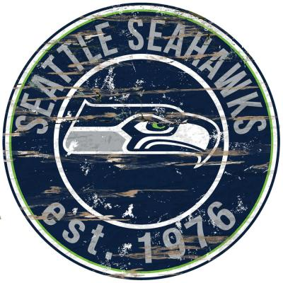 "24"" NFL Seattle Seahawks Round Distressed Sign"