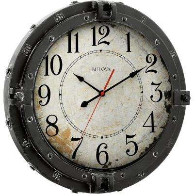 17 in. H x 17 in. W Round Metal Wall Clock with Maritime Porthole Design