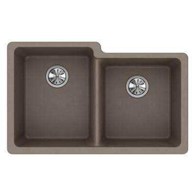 Quartz Classic Undermount Composite 33 in. Square Offset Double Bowl Kitchen Sink in Greige