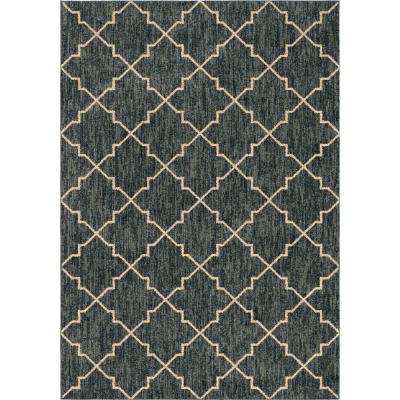 Looking Glass Plush Trellis Blue 5 ft. 3 in. x 7 ft. 6 in. Area Rug