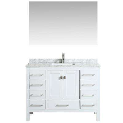 London 48 in. W x 18 in. D x 34 in. H Vanity in White with Carrera Marble Top in White with White Basin