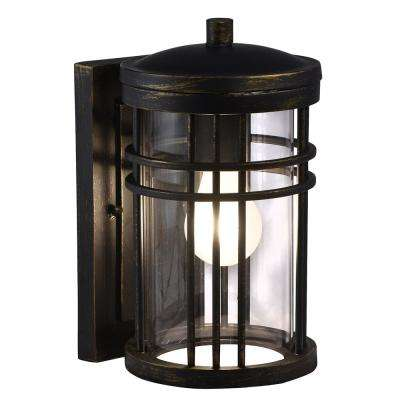 Clarion 1-Light Black Gold Outdoor Wall Mount Sconce