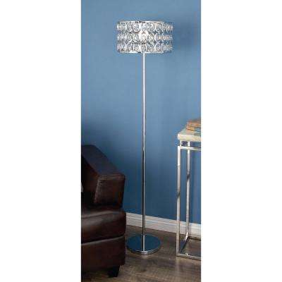 62 in. Modern Silver and Crystal Iron Floor Lamp