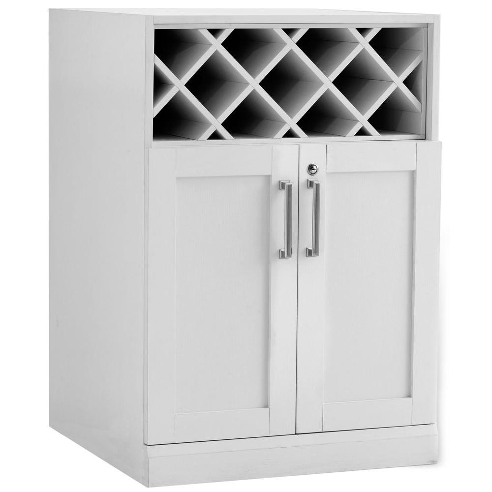 Wine Storage Cabinet White Woodgrain