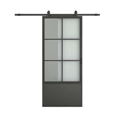 37 in. x 84 in. Tapered Glass Frosted Barn Door with Sliding Hardware Kit and Door Handle