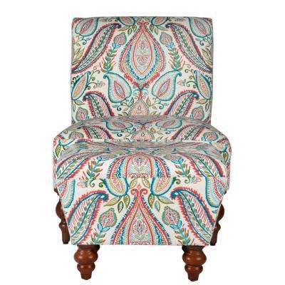 Multi-Color paisley Susan Armless Accent Chair/ Ottoman Set