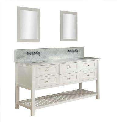 Mission Spa Premium 70 in. Double Vanity in Pearl White with Marble Vanity Top in Carrara White and Mirrors