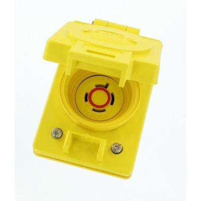 20 Amp 480-Volt 3-Phase Wetguard Locking Flush Mounting Single Outlet with Flip Lid, Yellow