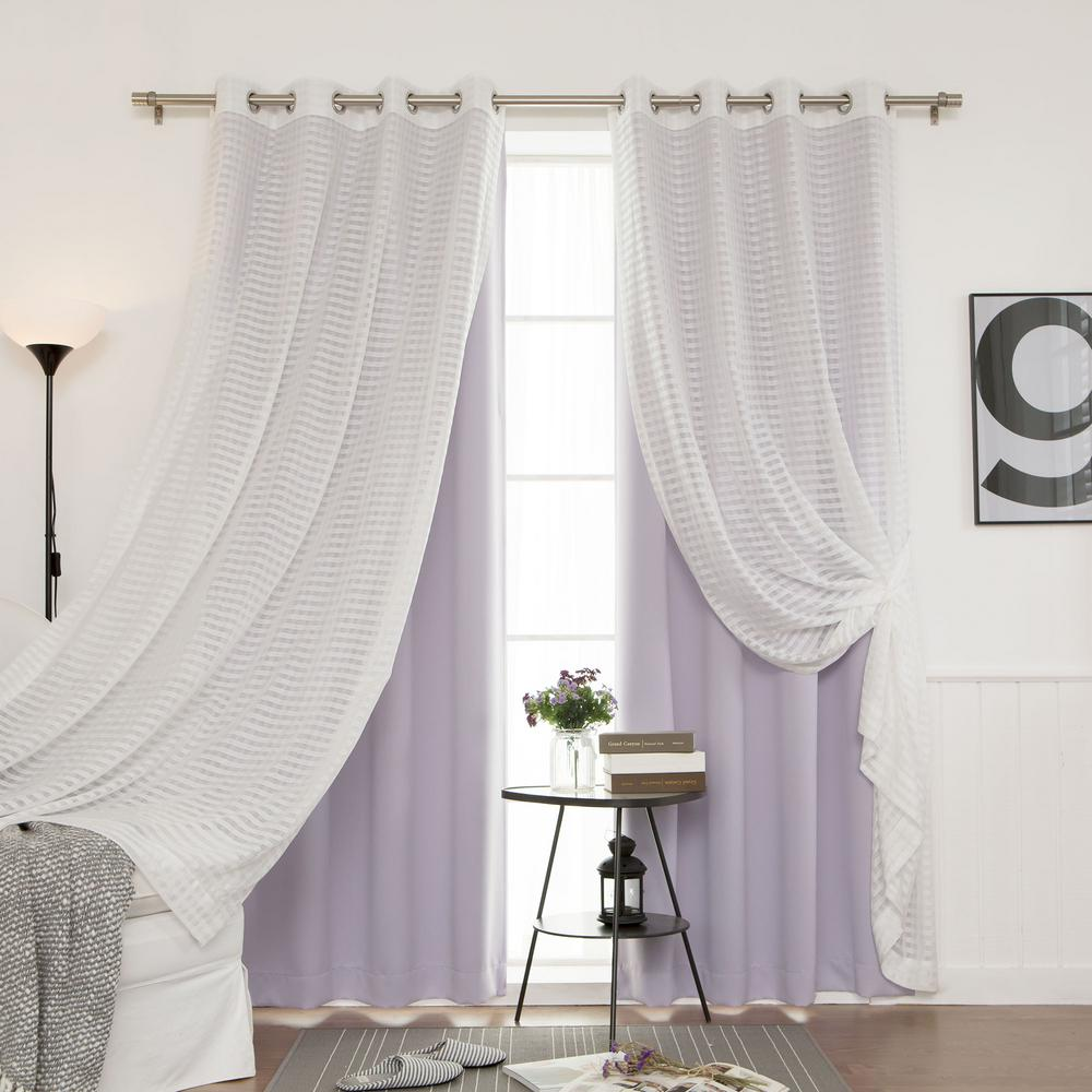 best home fashion 84 in l umixm lilac sheer checkered and. Black Bedroom Furniture Sets. Home Design Ideas