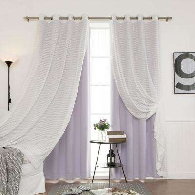 84 in. L uMIXm Lilac Sheer Checkered and Blackout Curtain (4-Pack)