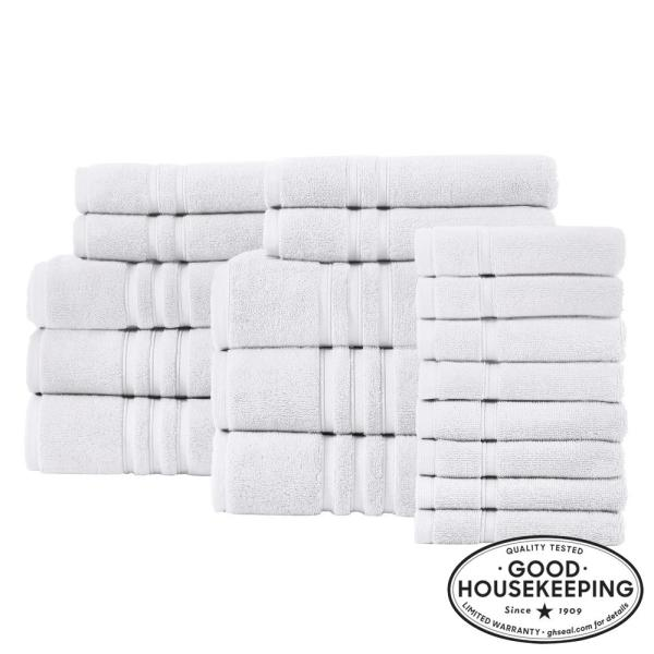 Turkish Cotton Ultra Soft 18-Piece Towel Set in White