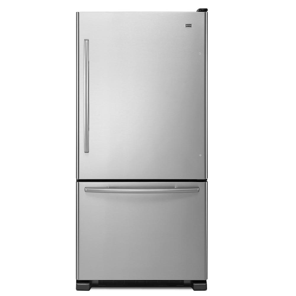 Maytag EcoConserve 30 in. W 18.5 cu. ft. Bottom Freezer Refrigerator in Stainless Steel