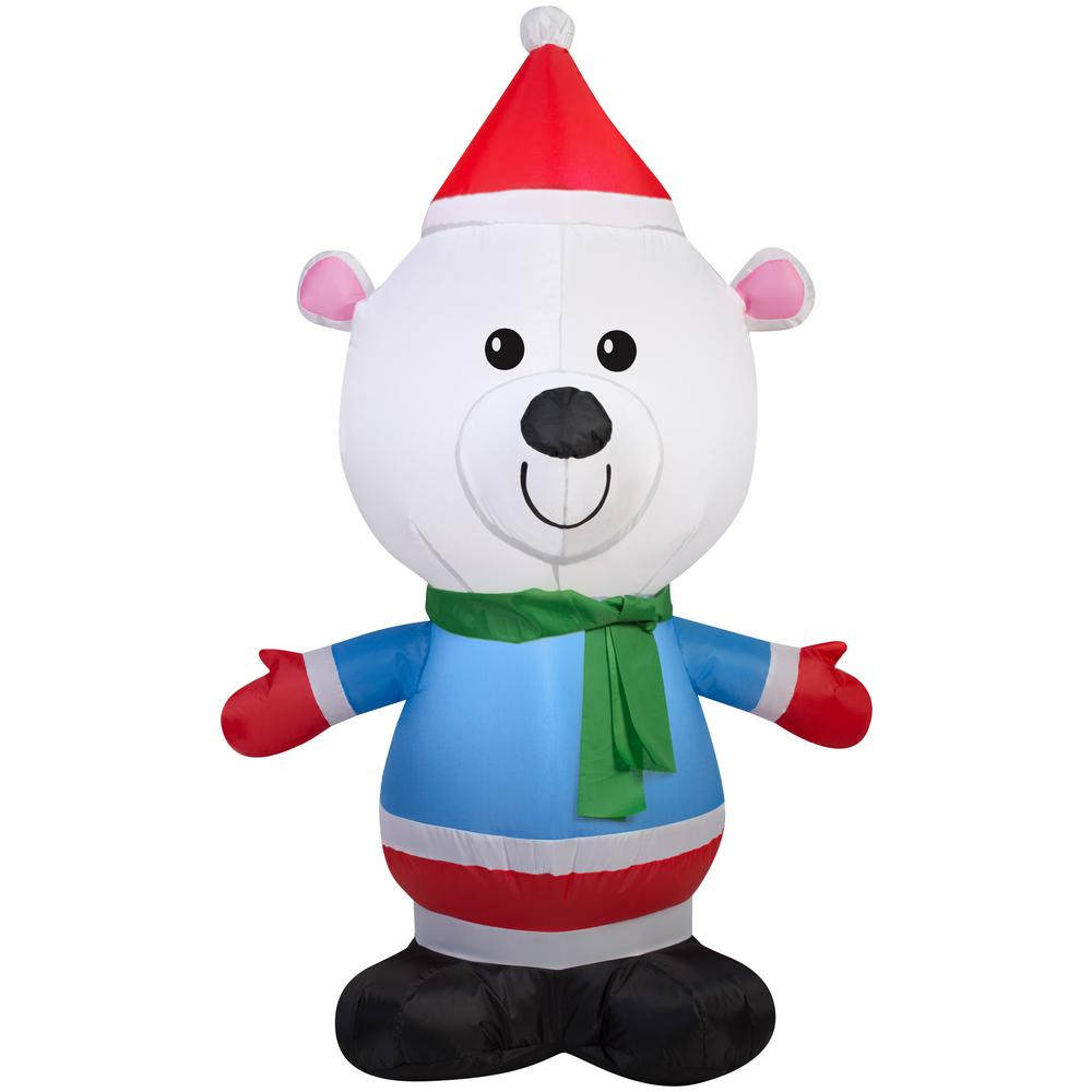 Gemmy 4 ft. Polar Bear Christmas Inflatable-G-39195 - The Home Depot