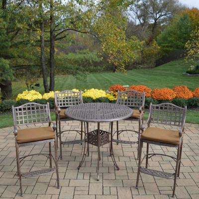 Elite 5-Piece Aluminum Outdoor Bar Height Dining Set with Sunbrella Brown Cushions