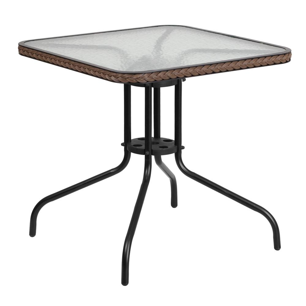 28 in. Square Tempered Glass Metal Patio Bistro Table with Dark