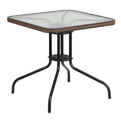 28 in. Square Tempered Glass Metal Patio Bistro Table with Dark Brown Rattan Edging