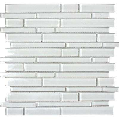 Ice Interlocking 12 in. x 12 in. x 8 mm Glass Mesh-Mounted Mosaic Tile (10 sq. ft. / case)