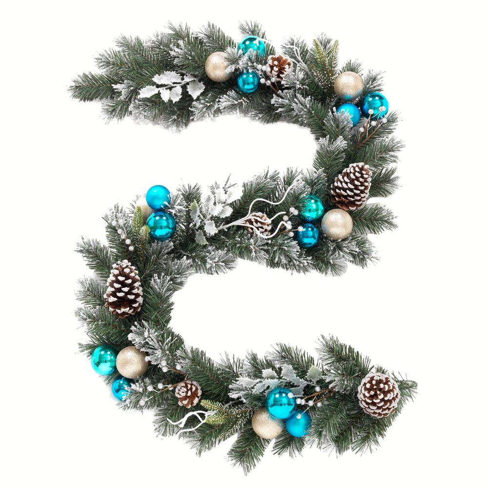 Flocked Pine Garland With Blue Plate And Silver