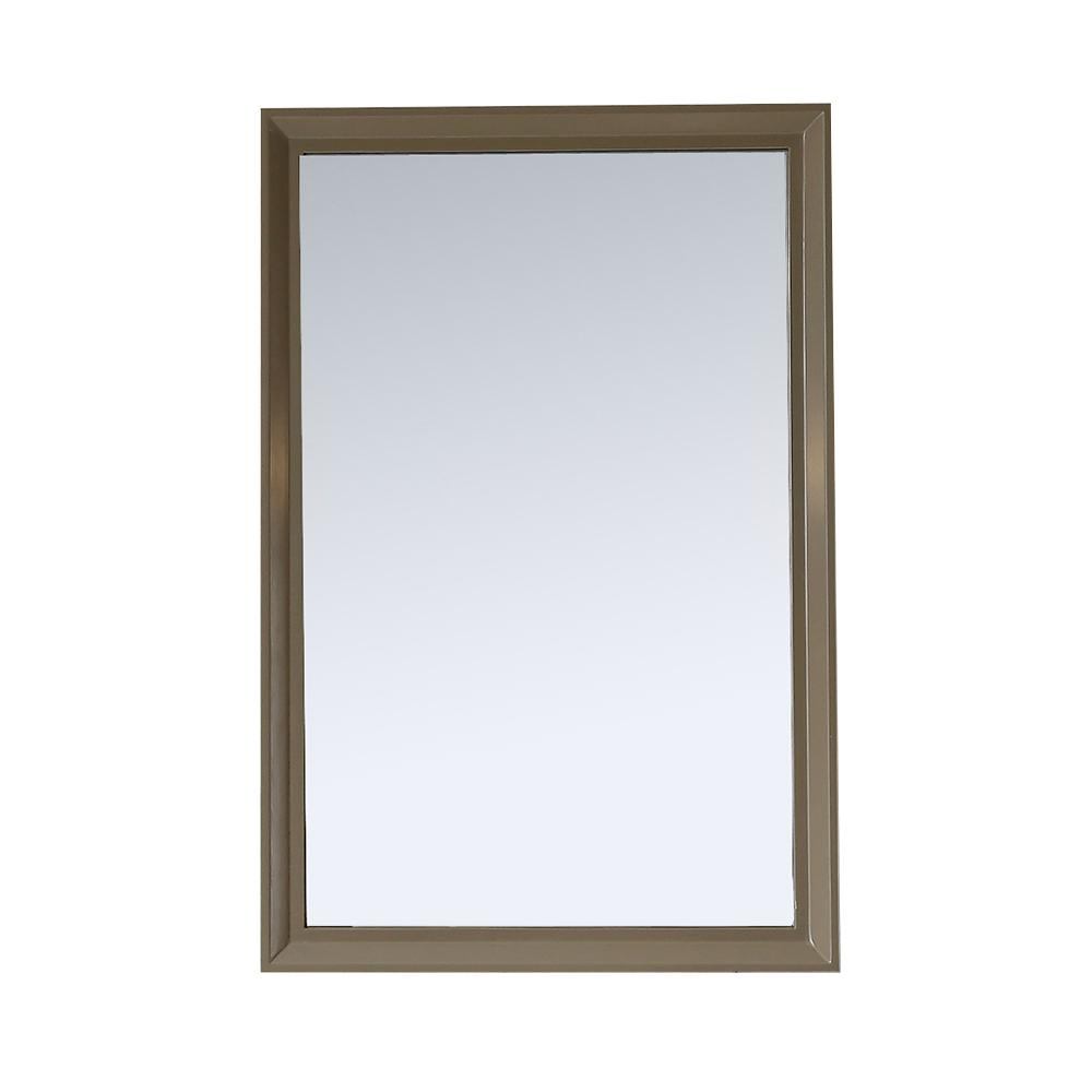 Martha Stewart Living Parrish 24 in. x 36 in. Framed Wall Mirror in Mushroom
